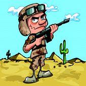 Cartoon american soldier in the desert