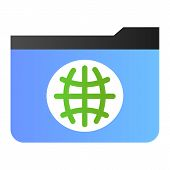 Public Folder Flat Icon. Folder With Globe Color Icons In Trendy Flat Style. Computer Folder Gradien poster