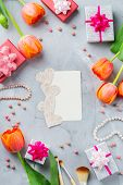 Stylish Feminine Woman Girl Accessories Flatlay Background, Flowers, Make-up, Accessories poster