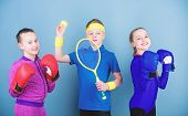 Child Might Excel Completely Different Sport. Sporty Siblings. Girls Kids With Boxing Sport Equipmen poster