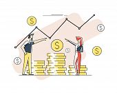Profit Money Or Budget Vector Illustration, Flat Cartoon Pile Of Cash And Rising Graph Arrow Up, Con poster