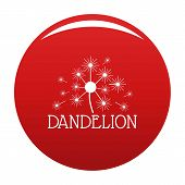 Fluffy Dandelion Logo Icon. Simple Illustration Of Fluffy Dandelion Vector Icon For Any Design Red poster