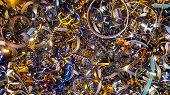 Abstract Color Background Of Metal Shavings. Processing Of Ferrous And Non-ferrous Metals In A Facto poster