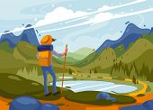 Adventure Of A Young Man In The Mountains, Travel On Hiking Trails. Concept Of Discovery, Exploratio poster