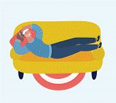 Vector Cartoon Illustration Of Adult Woman Lying On Sofa With Sickness. Sick Female Resting Or Laid  poster
