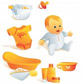 Icon Set - Baby Hygiene. Illustration