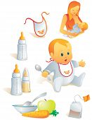 Icon Set - Baby voeding. Illustratie