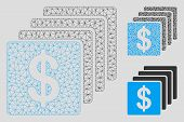 Mesh Finances Model With Triangle Mosaic Icon. Wire Frame Triangular Mesh Of Finances. Vector Mosaic poster