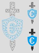 Mesh Euro Shield Model With Triangle Mosaic Icon. Wire Frame Polygonal Mesh Of Euro Shield. Vector C poster