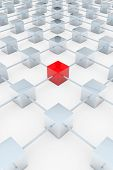 Red 3D square in a network of many grey cubes