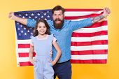 Celebrating The Independence Every July 4th. Happy Family Commemorating Anniversary Of Nations Indep poster