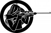image of girls guns  - girl aims from a rifle with target background stencil - JPG