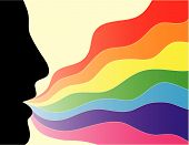 Face Silhouette With A Rainbow