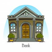 Cartoon Bank Building With Column. Finance Construction In Thin Line. Banking House With Dollar Sign poster