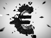 pic of depreciation  - 3d rendered abstract illustration of a broken euro sign - JPG