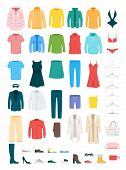 Clothes And Accessories Vector Illustrations Set. Men And Women Footwear Isolated Cliparts Pack. Win poster