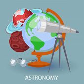 Educational Astronomy Banner With Earth Globe, Telescope, Googles And Planets. Design For Posters In poster