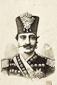 Porträt von Nasreddin, Schah von Persien (Iran). Illustration von Alwin Zschiesche, veröffentlicht am