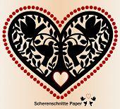 Paper cutout Scherenschnitte birds tree and heart