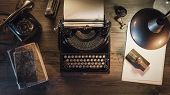 Vintage Journalist Desktop With Typewriter And Telephone poster