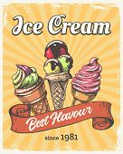 Ice Cream Retro Poster. Vintage Icecream Cones Paper Placard, Old Fashion Poster Or Flyer Design Wit poster