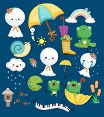 A Vector Collection Of Weather Dolls, Frog, And Snail In A Weather Theme poster