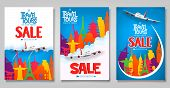 Travel And Tours Sale Promotional Posters Template Set With Colorful World Famous Landmark Icons For poster