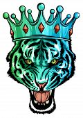 Portrait Of A Tiger With A Golden Crown On His Head, Grinning In Fury Vector poster