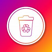 Color Recycle Bin With Recycle Symbol Line Icon Isolated On Color Background. Trash Can Icon. Garbag poster