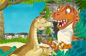 Cartoon Scene With Dinosaur Apatosaurus Diplodocus With Some Other Dinosaur In The Jungle Tyrannosau poster
