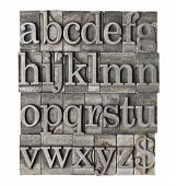 English alphabet (lowercase) and dollar sign in vintage grunge letterpress metal type