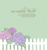 card with vector stylized hydrangeas and text