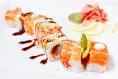 Sushi Roll With Salmon, Eel, Tiger Shrimp And Tobiko Caviar