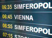 Electronic Scoreboard Flights And Airlines. Destinations: Simferopol, Vienna. Airport Flight Informa poster