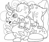 Cartoon Prehistoric Dinosaur Triceratops, Coloring Book, Funny Illustration poster