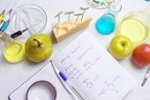 Workplace Lab Assistant Top View. Food Safety Laboratory Procedure, Analysing Fruits From The Market poster