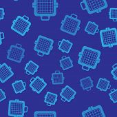 Blue Pet Carry Case Icon Isolated Seamless Pattern On Blue Background. Carrier For Animals, Dog And  poster