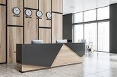 Wooden And Gray Reception In Office With Clocks poster