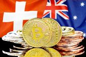 Concept For Investors In Cryptocurrency And Blockchain Technology In The Switzerland And Australia.  poster
