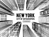 New York Is A City Of Skyscrapers. Vector Illustration In The Drawing Style On A White. View Of The  poster