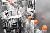Bottle. Industrial Production Of Plastic Pet Bottles. Factory Line For Manufacturing Polyethylene Bo poster