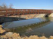 Footbridge over spillway
