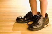 image of little boy  - Big shoes to fill child - JPG