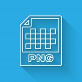 White Png File Document Icon. Download Png Button Line Icon Isolated With Long Shadow. Png File Symb poster