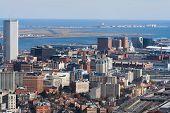 Boston Harbor And Logan Airport Aerial View