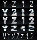Enorme plata cromo y aluminio vector conjunto de alfabeto. 4 tipos. Set # 7