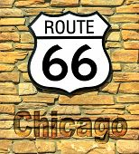 United States Historic Route 66 Road Sign Of Chicago On A Brick Wall. American Highway From Chicago  poster