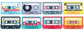 Retro Music Cassette. Stereo Dj Tape, Vintage 90s Cassettes Tapes And Audio Tape. Antique Radio Play poster