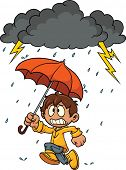 Cartoon kid running scared from a thunderstorm. Vector illustration. Clouds, rain and kid are on separate layers for easy editing.