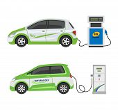 Fuel Alternative Vehicle Vector Team-car Or Gas-truck And Solar-van Or Gasoline Electricity Station  poster